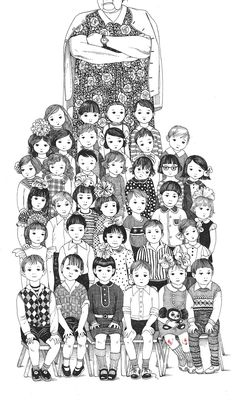 A selection of illustrations for a new book. The book is about kids, and illustrations are scenes from my childhood.