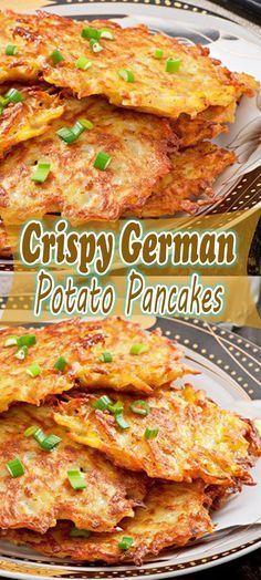 Crispy German Potato Pancakes - Mommy Nancy Food Recipes For Dinner, Food Recipes Keto Potato Dishes, Vegetable Dishes, Vegetable Recipes, Food Dishes, Vegetarian Recipes, Cooking Recipes, Side Dishes, Vegetable Pasta, Pescatarian Recipes