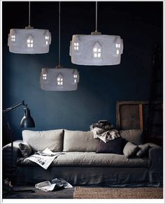 A lamp of paper mache in the City Lights series. City Light White is a design of The Paper Moon Factory. Paper Moon, Hanging Light Fixtures, Hanging Lights, My Home Design, House Design, Paper Mache Crafts, Dark Furniture, Decoration Design, City Lights