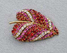 Red and Pink Rhinestone Vintage Leaf Brooch Signed Art