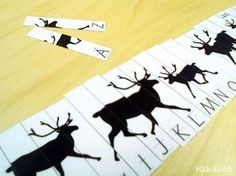 Palapeli aakkoset poro Printable Puzzles, Reindeer, Moose Art, Preschool, Teaching, Free, Character, Animals, Abcs