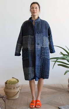 Indigo patchwork kantha stitch coat designed exclusively by Two in collaboration with textile designer Neeru Kumar is where style meets comfort. Incredibly soft and cozy like a warm blanket. The coat has a slim fit with pockets and snaps. Textiles, Ropa Upcycling, Indigo, Boro Stitching, Kantha Stitch, Denim Coat, Quilted Jacket, Quilted Coats, Coat Dress