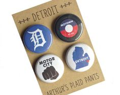 Detroit, Detroit Michigan, Detroit magnets, Detroit badges, magnet set
