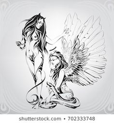 Find Silhouette Angel Demon Ornament stock images in HD and millions of other royalty-free stock photos, illustrations and vectors in the Shutterstock collection. Thousands of new, high-quality pictures added every day. Demon Drawings, Dark Art Drawings, Dr Tattoo, Brust Tattoo, Totenkopf Tattoos, Art Carte, Angel Drawing, Apple Art, Angel And Devil
