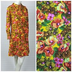 0af87ad674e Vintage 60s Psychedelic Floral Print Dress Sheer Sleeve Yellow Flower S M  70s 90s Party