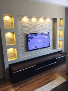 Elegant, Contemporary, and Creative TV Wall Design Ideas – Mobilier de Salon Living Room Tv Unit Designs, Ceiling Design Living Room, Tv Wall Design, False Ceiling Design, Door Design, House Design, Tv Cabinet Design, False Ceiling Living Room, Tv Wanddekor