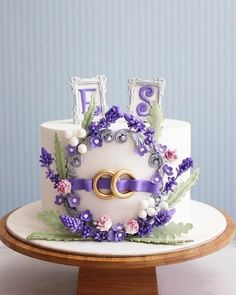 Lavender engagement Cake by asli. like elements of it Pretty Cakes, Beautiful Cakes, Amazing Cakes, Single Tier Cake, Lavender Cake, Cupcakes Decorados, Fantasy Cake, Cake Wrecks, Engagement Cakes