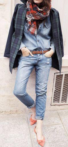 Caroline de Maigret in Madewell Fall 2013 Looks Camisa Jeans, Looks Jeans, Jeans Boyfriend, Look Fashion, Womens Fashion, Fall Fashion, Fashion Styles, Street Fashion, Fashion Models