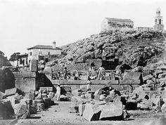Temple of the Mysteries, Eleusis / D. Constantin á Athénes. Men standing among ruins, Temple of the Mysteries. Library of Congress Library Of Congress, Archaeology, Old Photos, Paris Skyline, Mount Rushmore, Greece, Mountains, History, World