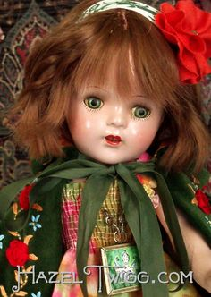 LUCKY No. SEVEN Vintage Composition Doll Hazel Twigg Series GREEN TIN EYES up for adoption right now. Sweet Harriet Peabody!