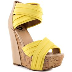 G by Guess Embarka - Yellow Multi Fab ($60) ❤ liked on Polyvore