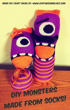 DIY Monster Stuffed Animals Made from socks!  #sock #sewing #diy #kids #halloween #monsterparty