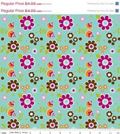 SALE Little Matryoshka Aqua Floral  1/2 Yard by uberstitch on Etsy, $3.44