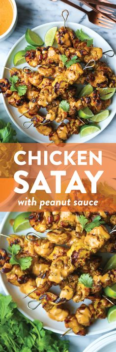 Chicken Satay with Peanut Sauce - Chicken Satay with Peanut Sauce – Perfectly grilled chicken satay skewers in the most flavorful marinade. Served with THE BEST creamy peanut sauce ever! Asian Recipes, Healthy Recipes, Ethnic Recipes, Easy Recipes, Healthy Food, Pollo Satay, Chicken Satay Skewers, Chicken Bites, Peanut Sauce