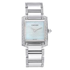 Pre-Owned Cartier 18k White Gold and Diamond Medium Tank Francaise, circa 2000