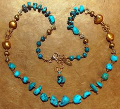 Hand knotted semi precious turquoise, citrines, fresh water pearls and 24kgold vermeil necklace