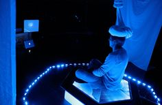 Blue Morph is an interactive installation that uses nanoscale images and sounds derived from the metamorphosis of a caterpillar into a butterfly. By Victoria Vesna Interactive Installation, Science Art, Neuroscience, Medium Art, Caterpillar, Artsy Fartsy, Theatre, Butterfly, Victoria