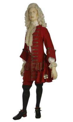 Este traje formal en lana para hombre, bordado con hilos de plata, ilustra el estilo de moda de la ropa masculina por el periodo 1700-1705