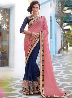 118da579f6b12c  157 Fabulous Navy Blue and Light Pink Saree Saree Blouse Designs