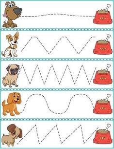 Trace The Pattern: Dogs & Food Bowls Pre Writing, Kids Writing, Printable Preschool Worksheets, Printable Cards, Community Helpers Worksheets, Dog Food Bowls, Preschool Colors, English Worksheets For Kids, Preschool Learning Activities