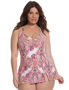 Flattering one-piece swim dress delights with a colorful paisley print, V-neck and slit skirt. Soft, no-wire cups lift and support, with adjustable, convertible straps.  lanebryant.com