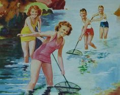Original 1930s Children's Matted Print - Gay Young Shrimpers - Fishing - Nets - Seaside - Beach - Coast - Vintage Picture