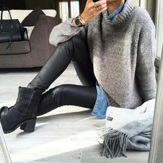 Casual By Shop in our link in bio Casual Fall Outfits, Fall Winter Outfits, Classy Outfits, Winter Fashion, Mode Outfits, Fashion Outfits, Fashion Styles, Style Fashion, Outfits Leggins