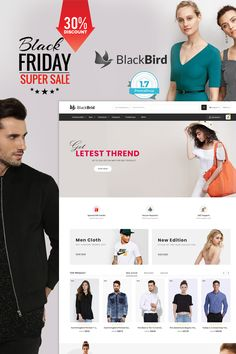 BlackBird - The Fashion Store is Responsive theme and designed for selling fashion Apparel,Wear,Accessories,Clothing store. Theme is responsive and supports all devices,user-friendly and fine-looking Wedding Food Stations, Website Design Layout, Website Themes, Photoshop, Pet Store, Store Design, Kids Wear, Logo Design, Insurance Comparison