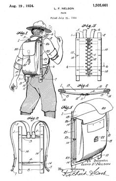 "Lloyd F. ""Trapper"" Nelson's 1920s reinforced pack board was also a notable patent and invention. Inspired by a Native American sealskin and willow stick pack, the new design emphasized ventilation for the back and also prevented hard objects in the pack from putting pressure on the users back."