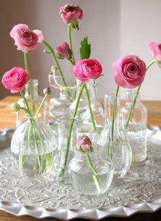 Floral Arrangement ~ pink ranunculus in assorted clear vases, jars Simple Flowers, Fresh Flowers, Spring Flowers, Beautiful Flowers, Small Vases With Flowers, Exotic Flowers, Clear Vases, Bud Vases, Flower Vases