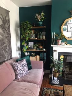 How To Use Dark Green in Your Living Room - Melanie Jade Des.- How To Use Dark Green in Your Living Room – Melanie Jade Design How To Use Dark Green in Your Living Room — Melanie Jade Design - Dark Green Living Room, Dark Living Rooms, Living Room Goals, Home Living Room, Living Room Designs, Small Living, Feature Wall Living Room, Teal Dining Rooms, Living Room With Color