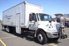 Stericycle StrongPak Navistar with Utilimaster Truck Body and HTS Systems' Hand Truck Sentry System safely transporting BP Liberator senior convertible hand truck. Commercial hand trucks can take-up 12'-15' cubic feet of valuable cargo space!