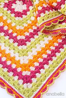 Crochet granny square blanket ~ Beautiful color combination