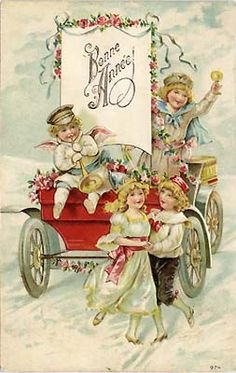 Printable Victorian Happy New Year Postcard - High Res Vintage Image Vintage Happy New Year, Happy New Year Cards, New Year Greetings, Happy Year, Vintage Greeting Cards, Vintage Christmas Cards, Vintage Holiday, New Year Printables, New Year Postcard