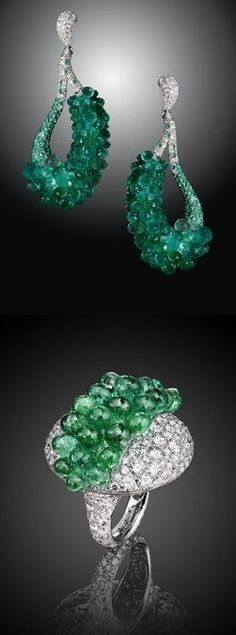 De Grisogono white gold earrings studded with emeralds and the matching ring