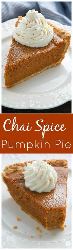 Chai Spice Pumpkin Pie - every bite is silky smooth!