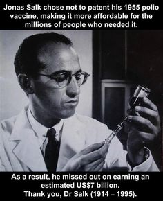 Good Friday: Faith In Humanity Restored I can only imagine how many lives Dr. Salk's Polio vaccine changed for the good.he was a Hero!I can only imagine how many lives Dr. Salk's Polio vaccine changed for the good.he was a Hero! Cultura Judaica, Jonas Salk, Pseudo Science, Saint Yves, Faith In Humanity Restored, We Are The World, Interesting History, Interesting Facts, Awesome Facts