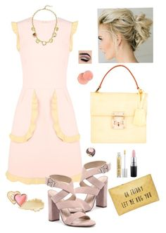 """""""Rose Quarts & Yellow"""" by lmello ❤ liked on Polyvore featuring RED Valentino, Siren, Cole Haan, T-shirt & Jeans, Urban Decay, Louis Vuitton, MAC Cosmetics and Too Faced Cosmetics"""