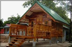 small bamboo house design and floor plan with living space in terrace also green roofs color Bamboo House Design, Small House Design, Dream Home Design, Modern House Design, Style At Home, Cheap Houses For Sale, Philippines House Design, Philippine Houses, Beautiful Small Homes