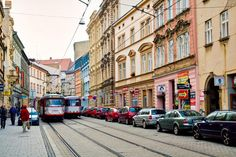 I was amazed how the transportation planners were able to fit in two light rail tracks through city streets were very tight. Light Rail, City Streets, Czech Republic, Prague, Transportation, Places To Go, Street View, Landscape, Planners