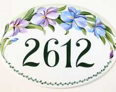 Personalized ceramic house numbers tile, Address plaque for home, Irises flowers, Yard address sign, Custom wedding gift House Name Plaques, Personalized Signs For Home, As You Like, Just For You, Iris Flowers, Pastel Flowers, Ceramic House Numbers, Beach House Signs, Custom Wedding Gifts