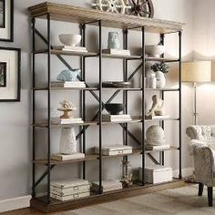 Ardmore Wide Bookcase by Inspire Q Large Bookcase, Open Bookcase, Bookshelf Styling, Etagere Bookcase, Bookcase Shelves, Wooden Shelves, Glass Shelves, Metal Bookcase, Rustic Industrial
