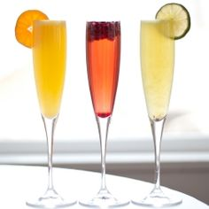 Colorful, festive fruit and Prosecco cocktails are so simple to make!