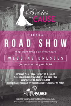 February 19-20 in Tacoma! Don't miss this two day sale with hundreds of designer wedding dresses at unbeatable prices!