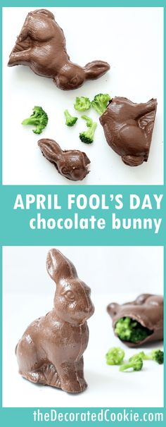 April Fool's Day chocolate Easter bunny trick -- filled with broccoli -- April Fool's Day food pranks