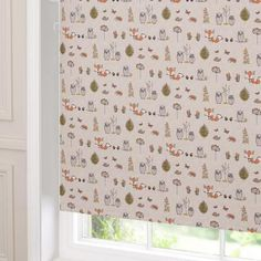 Dunelm Woodland Fox Cream U0026 Orange Wooden Cordless Blackout Roller Blind Good Looking