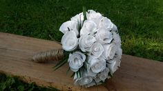 White Wedding Bouquet Paper Bride Flowers origami by moniaflowers
