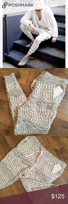 NWT FREE PEOPLE ROAD TRIP JOGERS NWT & bag FREE PEOPLE road trip JOGGERS Dress up as shown in photo one or dress down with a cozy top. The colors are a soft silver gray and a cream white, heavyweight knit Free People Pants Track Pants & Joggers