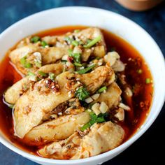 Healthy steamed chicken with ginger soy sauce dip.