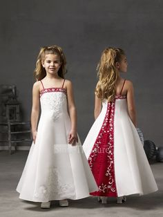 flowergirl dress???? White and Red Satin A-line Ankle Length Embroidery/Beading Flower Girl Dress